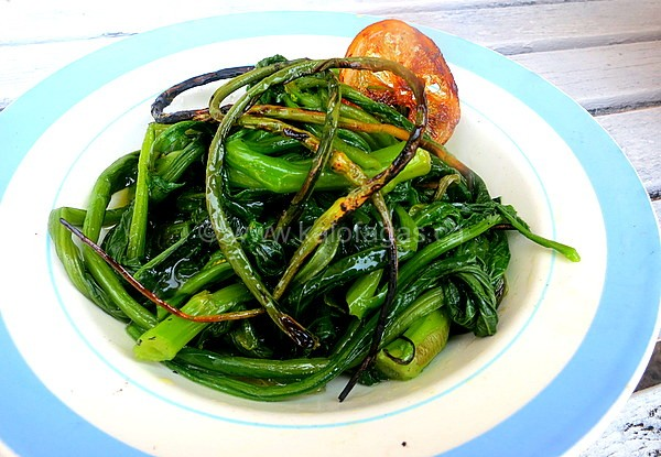 Boiled Greens With Grilled Garlic Scapes