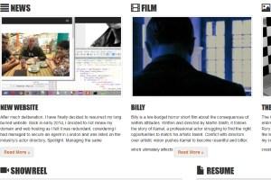 Screenshot of the homepage of Kal Sabir's website.
