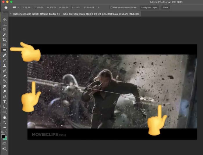 Using the Photoshop Ruler tool