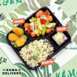 柚子沙律、純素樂樂雞、欖油野菌雜菜、牛肝菌意大利飯|Kama一人素食餐盒|Kama Delivery素食到會外賣