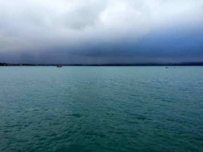 Blue-grey sky and water
