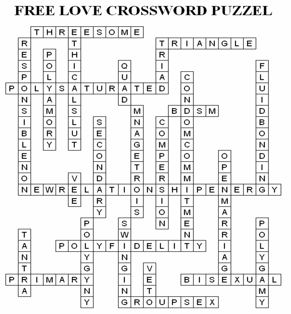 Fun Crossword Puzzle Teaches New Polyamory Vocabulary