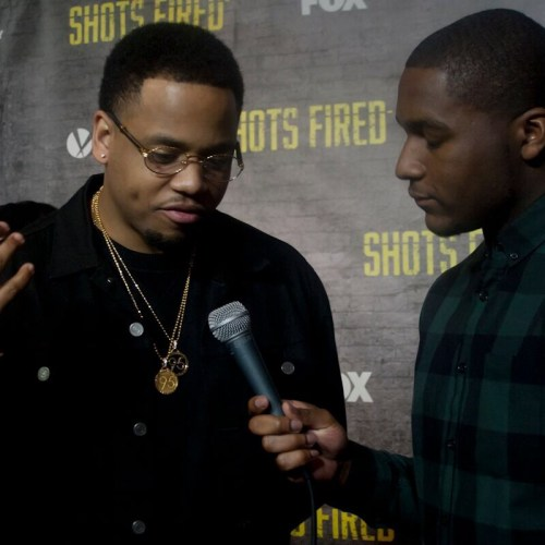 Actor Mack Wilds talks with entertainment correspondent Kamaron Leach on the red carpet of FOX's 'Shots Fired' NYC screening, held on March 9th, 2017. (Abigail Ekue Photography)