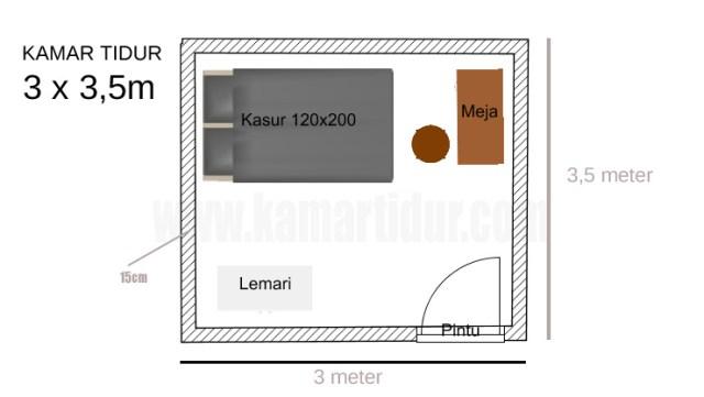 kamar tidur 3x3,5 meter