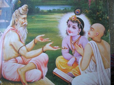 Shri Krishna receiving instructions from His Sadguru