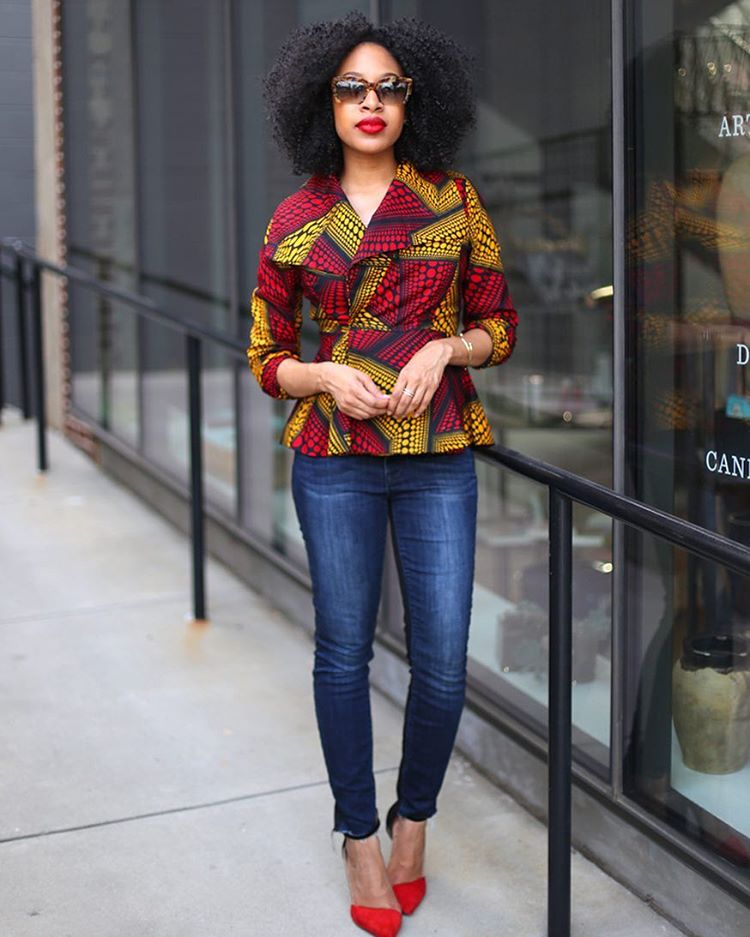 Look 1: @mattieologie rocked her ankara jacket well with her fitted denim pants