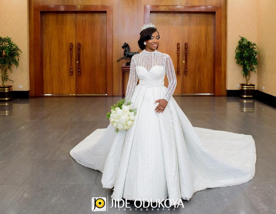 "Kunbi Oyelese in Her Own Brand ""April By Kunbi"" Wedding dress for her Big Day - Photo Credit"
