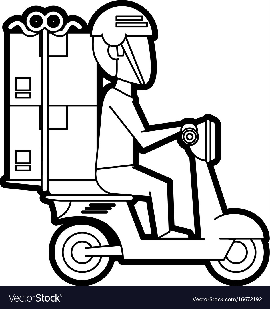 flat-line-uncolored-delivery-man-in-motorcycle-vector-16672192