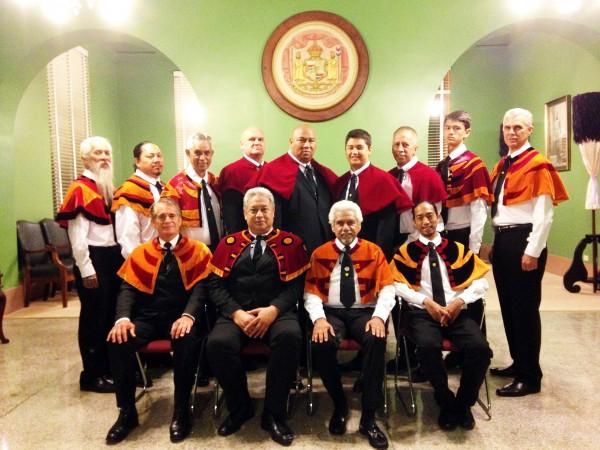 Back row, center, are Raymond Jardine, Wayne Ka'iwi and Kona Fairbairn, our newest Mamo Hawai'i.