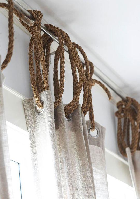 gordijnen ophangen met touw
