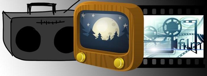 SIDE OM SIDE: Vi hører på radio selv om vi også har fått alternativer som tv og kino. (Kollasj av illustrasjoner fra Pixabay.com)