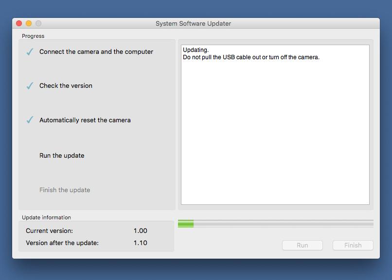 OPPDATERING: Her er fastvare-oppdateringen i full gang. (Skjermdump: Kamerablogg)