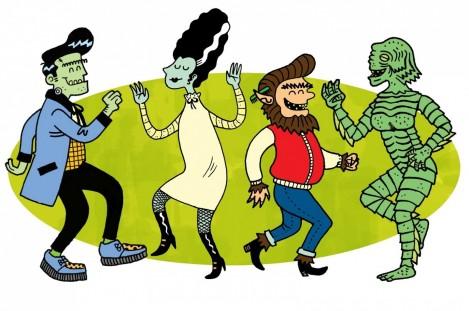 Image of cartoon halloween characters