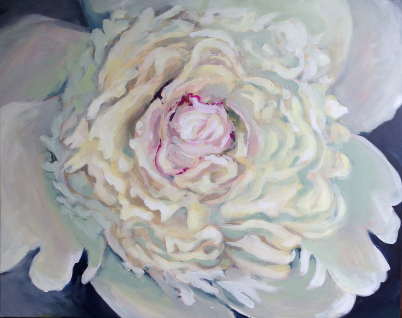 Painted White Peony by Kamille Saabre
