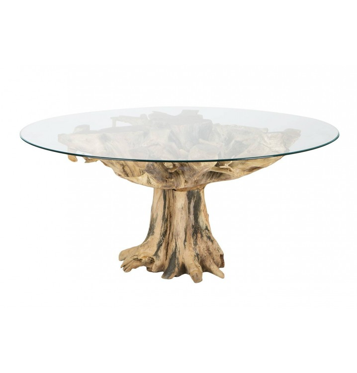 Mesa redonda Raz natural madera teka y cristal