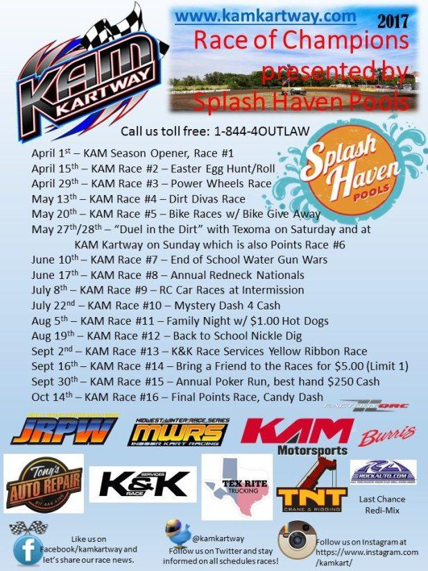2017 KAM Kartway Points Schedule