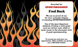Sportsmanship award for May goes to Fred Buck
