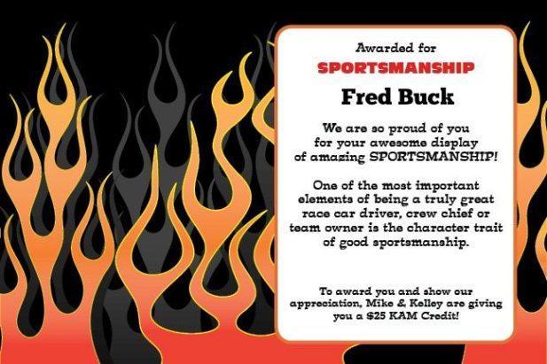 Sportsmanship Award Winner Fred Buck