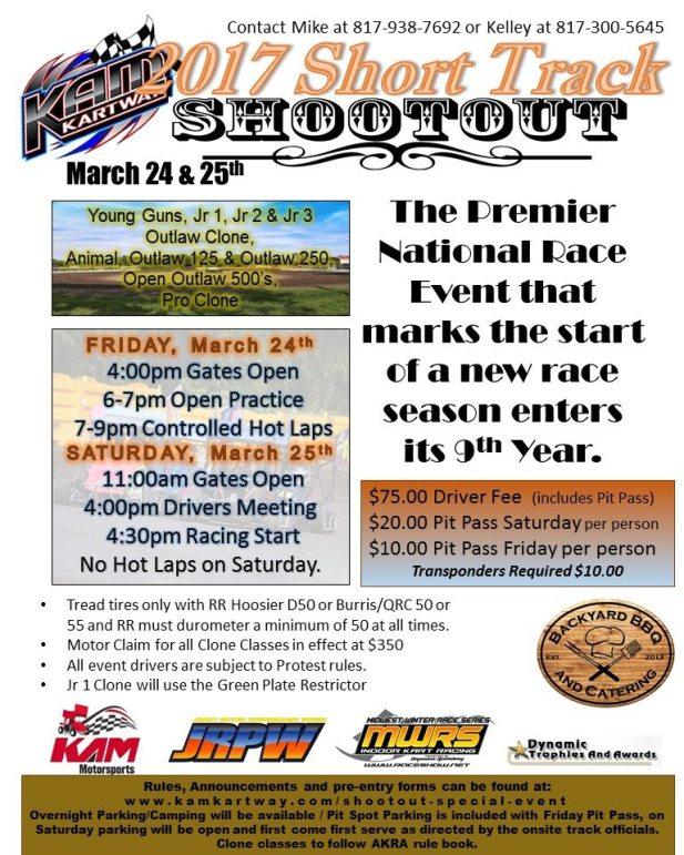 Short Track Shootout event flyer