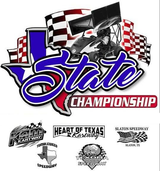 Texas State Championship logo with participating track logos below