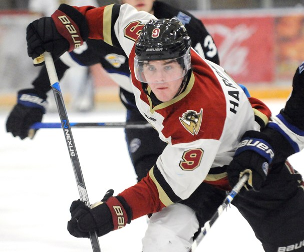 <who>Photo Credit: Lorne White/KelownaNow </who>Mike Hardman's scored his seventh of the season for the Warriors.