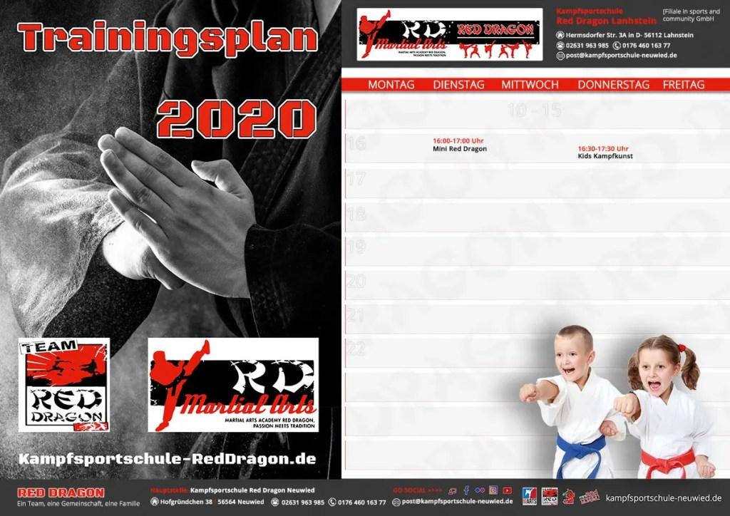 RED DRAGON - Lahnstein Trainingszeiten 2020