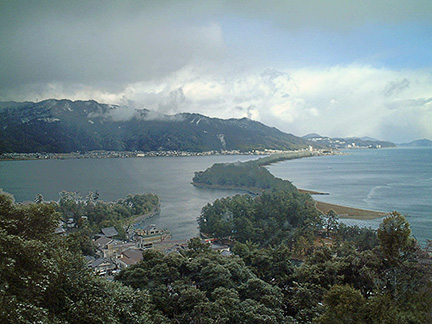 View of Amano-hashidate from Genmyoan