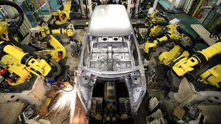 Automobile factory robots