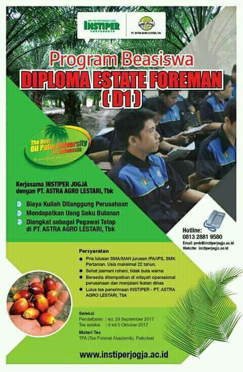 Beasiswa Diploma Estate Foreman (D1) INSTIPER 2017