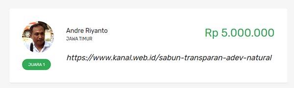 "Kontes SEO dengan keyword ""sabun transparan ADEV Natural"""