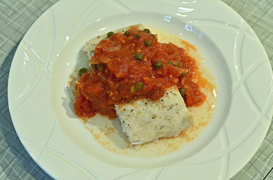 Tomato Caper Sauce over Broiled Fish