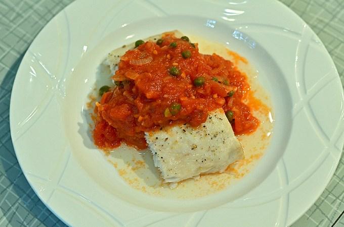 Tomato Caper Sauce over Broiled Fish