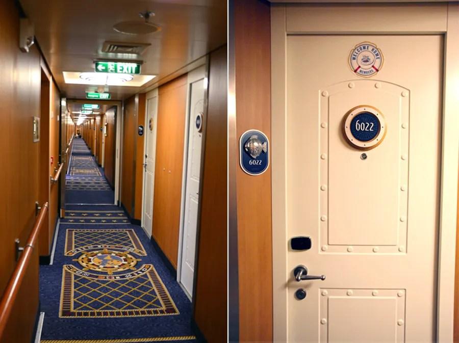 Hallway and stateroom door