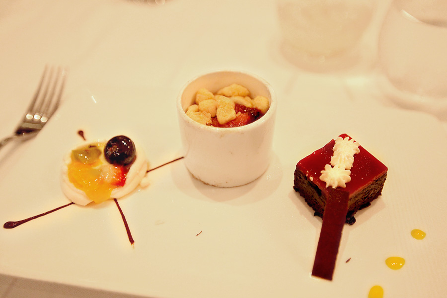 Dessert-Trio-Floating-Island-Fruit-Cobbler-Chocolate-Cake