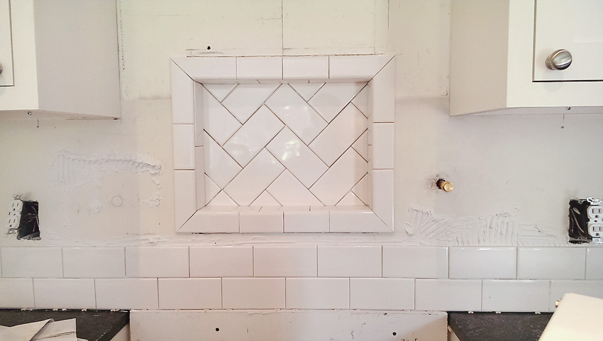 Kitchen Remodel white subway tile backsplash herringbone