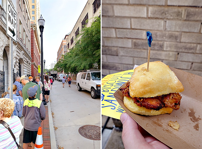 2015 International Biscuit Fest Whole Foods Smoked Fried Chicken Biscuit Line