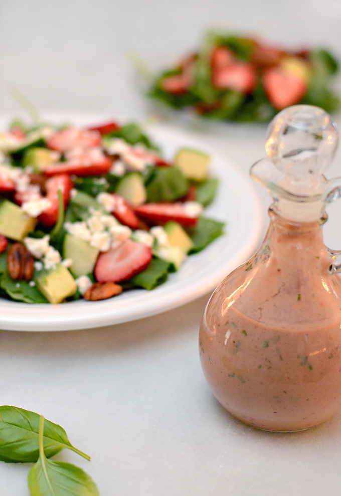 Strawberry Avocado Salad with Strawberry Balsamic Dressing