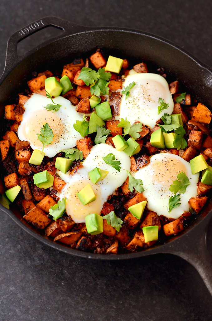 One Pan Baked Sweet Potato Hash with Chorizo & Eggs