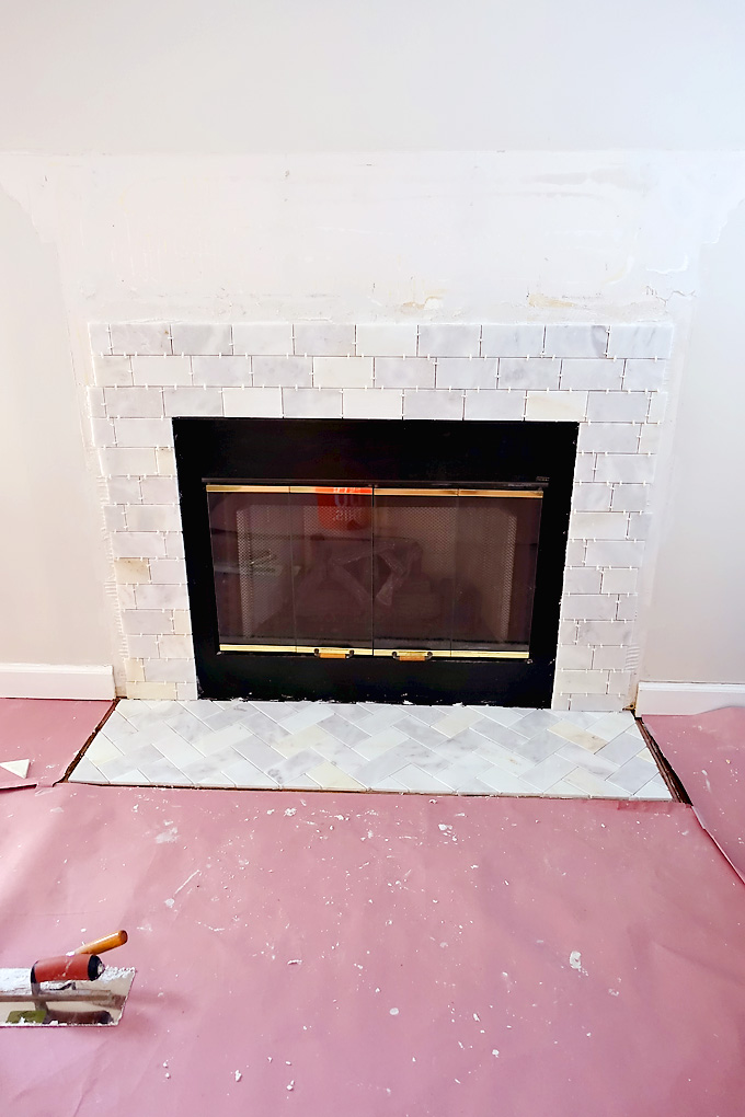 Fireplace-Makeover-Greecian-White-Marble-Tile-08