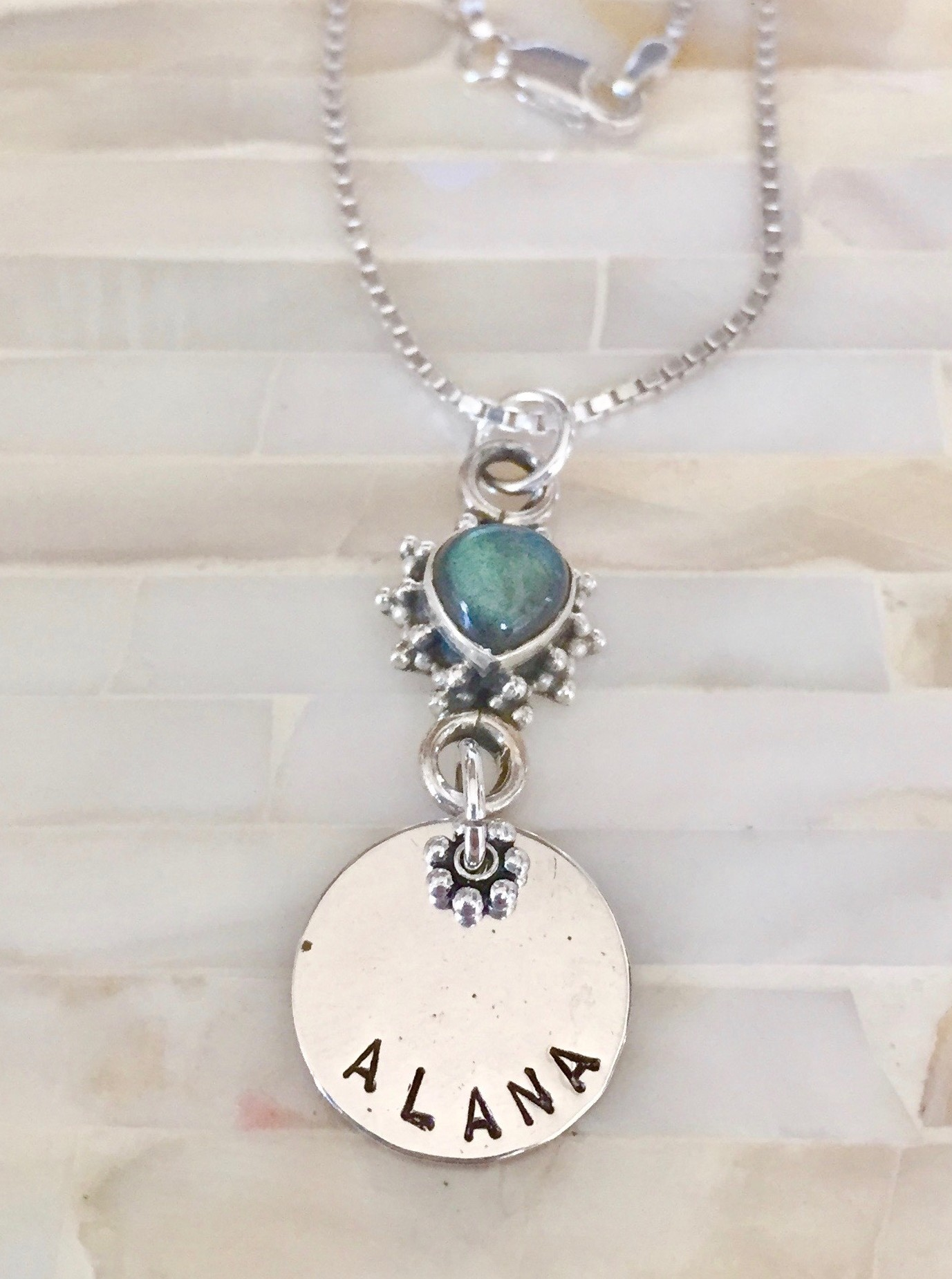 Personalized Gemstone Name Necklace- Moonstone gemstone