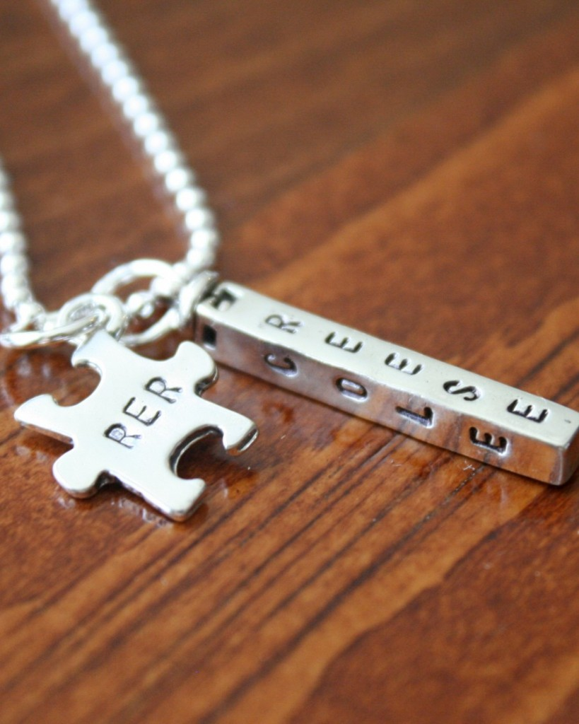 Autism Puzzle Name Bar Necklace- Four Sided Bar