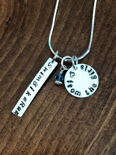 Triathlon- Swim Bike Run- Personalized Necklace