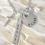 christian mom kids name necklace