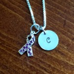 Initial alzheimer's ribbon Necklace - purple ribbon