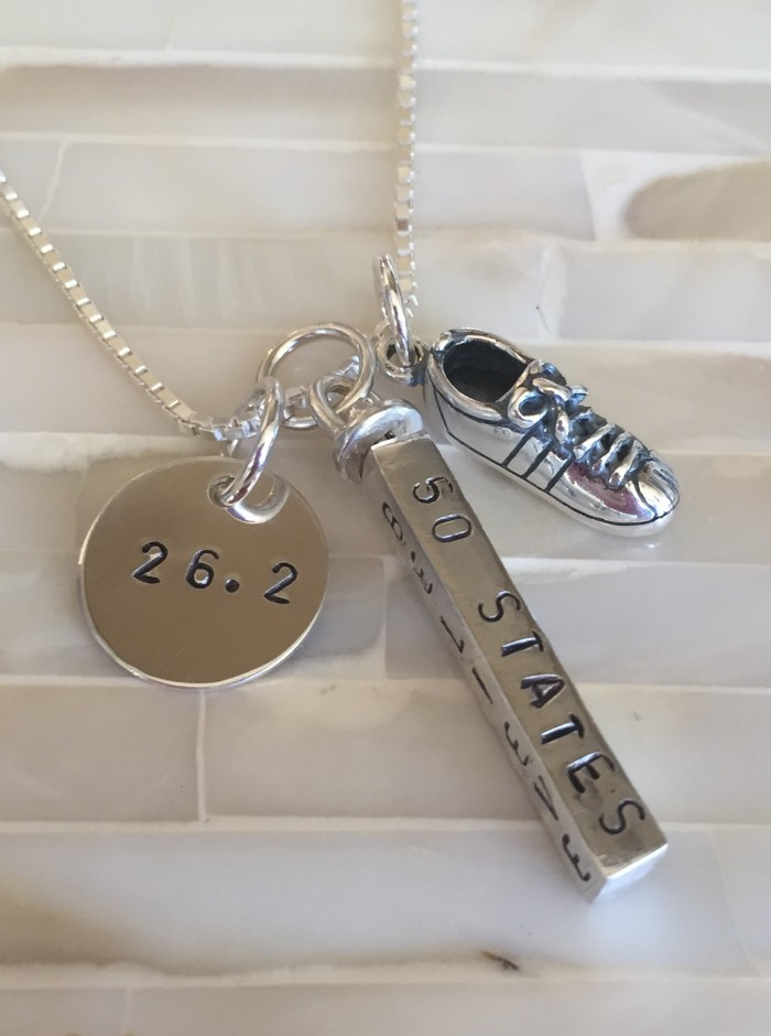 Runners Personalized Marathon Necklace distance time