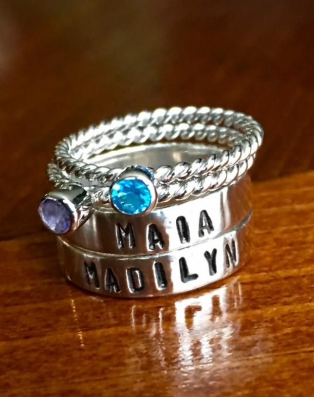 Grandma Birthstone Name Ring custom | kandsimpressions