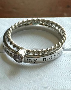 Always my mother forever my friend birthstone ring set