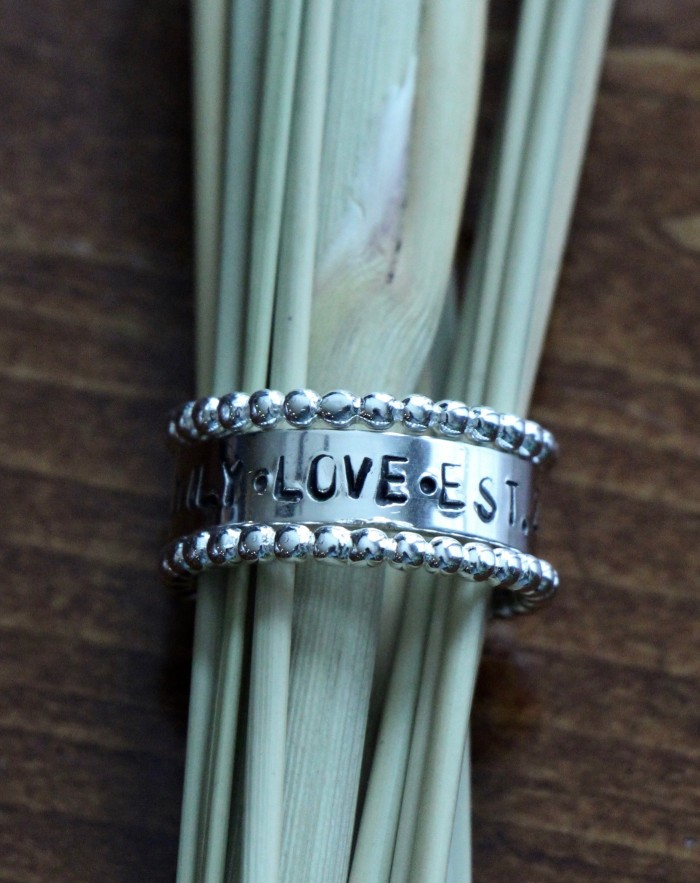 mothers personalized name ring set- Sterling Silver
