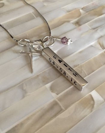 Personalized Confirmation Name Necklace- Baptism Necklace- Cross Charm