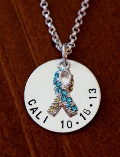 mothers Down Syndrome Name Necklace- Yellow blue awareness ribbon